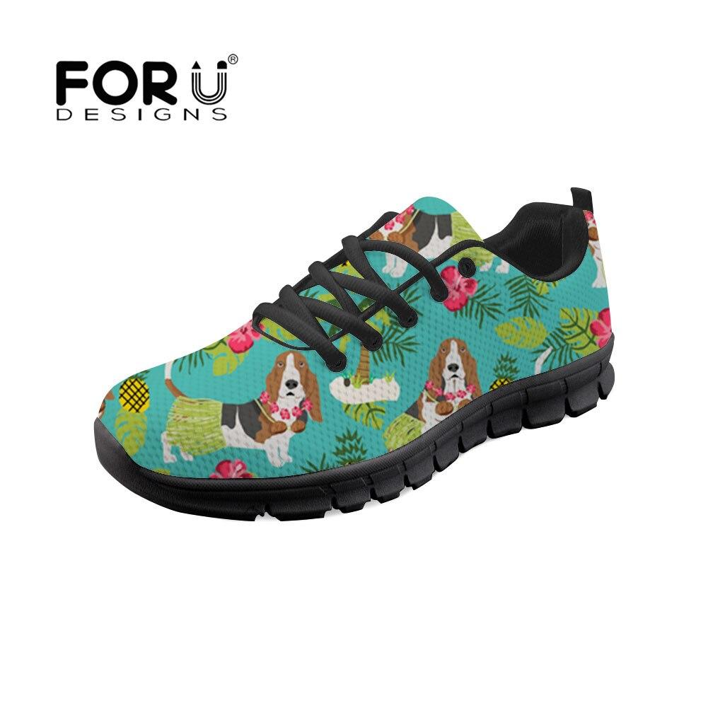 61857037d7990 FORUDESIGNS 2018 Autumn Flat Women Casual Shoes Basset Hound Pet Dog  Tropical Trendy Design Plants Sneakers Lady Chaussure Femme