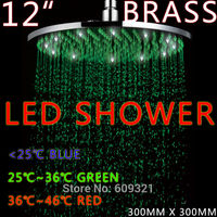 BRASS 12 INCH 300*300 LED Shower Head