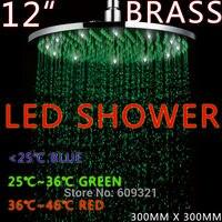 freeshipping латуни 12 дюймовый светодиодный душ головы, светодиодный осадков душ, душ привел/светодиодный душ/кран