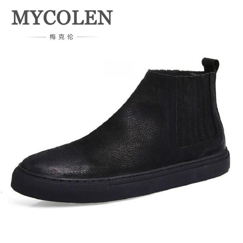 MYCOLEN Winter Boots Men Cow Leather Chelsea Boots Winter Men Shoes Winter High Quality Cowhide Black Boots Botas Hombre