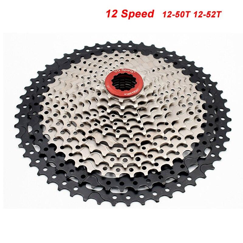 MTB 12-50 T 12-52 T 12 Speed Cassette Bicycle Freewheel Sprocket Cdg 12S Mountain Bike Freewheel Ultralight Silvery