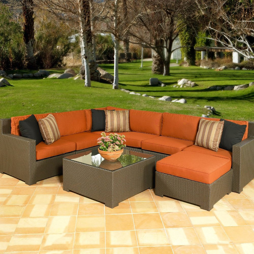 Melrose All Weather Wicker Outdoor Sectional Seating   Seats Up To 7(China