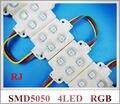 Super brilhante de alta qualidade LEVOU módulo de injeção impermeável RGB SMD 5050 LEVOU placa de publicidade luz SMD5050 RGB 4 levou DC12V 0.96 W IP66