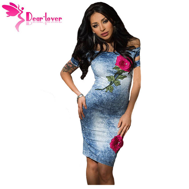 e0342f6b89f Dear Lover Summer Party Dresses Sexy Rose Embroidered Off Shoulder Midi Denim  Dress Women Vestido Jeans Feminino Festa LC61224