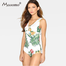 Missomo Women Sexy Bodysuit Intimate Floral Print Female Overalls Summer Beach Playsuits Tropical style Slim Fit Bodysuit недорого