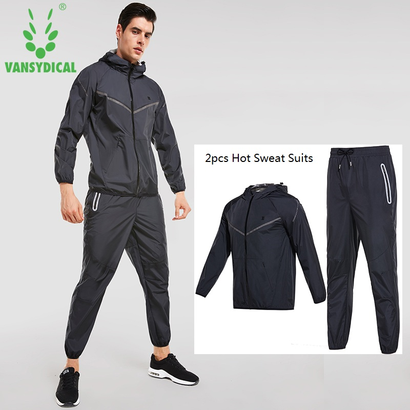 Vansydical Mens Running Suits Waterproof Training Outdoor Sports Sets 2 pcs Fitness Work ...