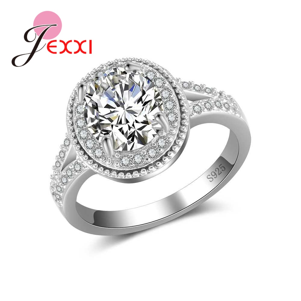 Cubic Zirconia New Trendy Round Luxury 925 Sterling Silver Rings Hot Sale Big Promotions Romantic Women Wedding Jewelry