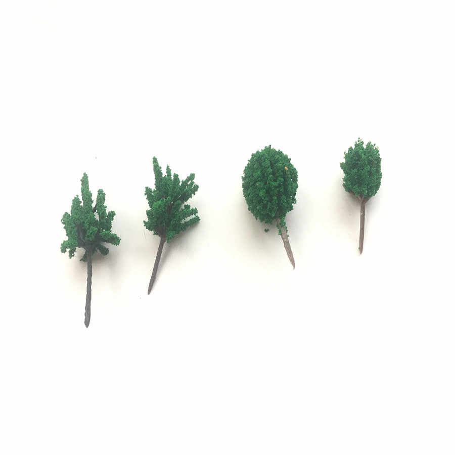 10 Pcs/lot 3-4 Cm Model Hijau Pohon Miniatur Skala Model Arsitektur Plastik Hijau Hutan Pohon