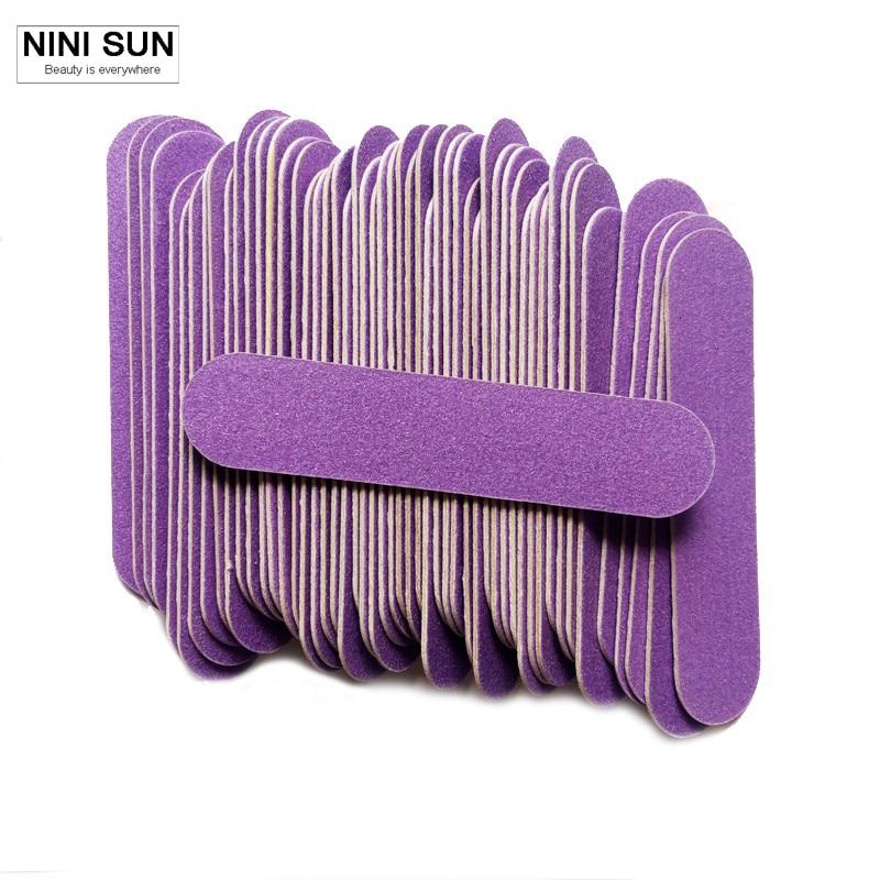 ⊰100Pcs/lot Purple Mini Nail File Buffer Sanding Nail Art Tools for ...
