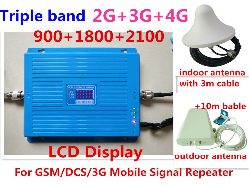 Le plus nouveau chaud GSM 900 mhz DCS 1800 mhz WCDMA 2100 mhz répéteur Tri bande amplificateur de Signal cellulaire UMTS 2G 3G 4G LTE 1800 mhz amplificateur