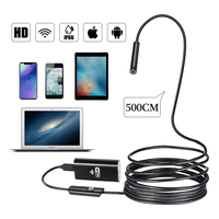 HD 720P 8mm Lens Snake WIFI Endoscope Camera 5M Cable 6 LED IP67 Waterproof For IOS