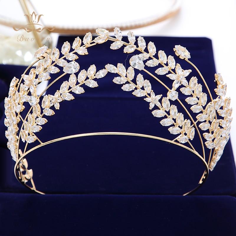 Takı ve Aksesuarları'ten Saç Takısı'de Bavoen Kraliyet Prenses Altın Gelinler Headbands Barok Zirkon Gelinler Tiaras Hairbands Temizle Kristal Düğün saç aksesuarları'da  Grup 1
