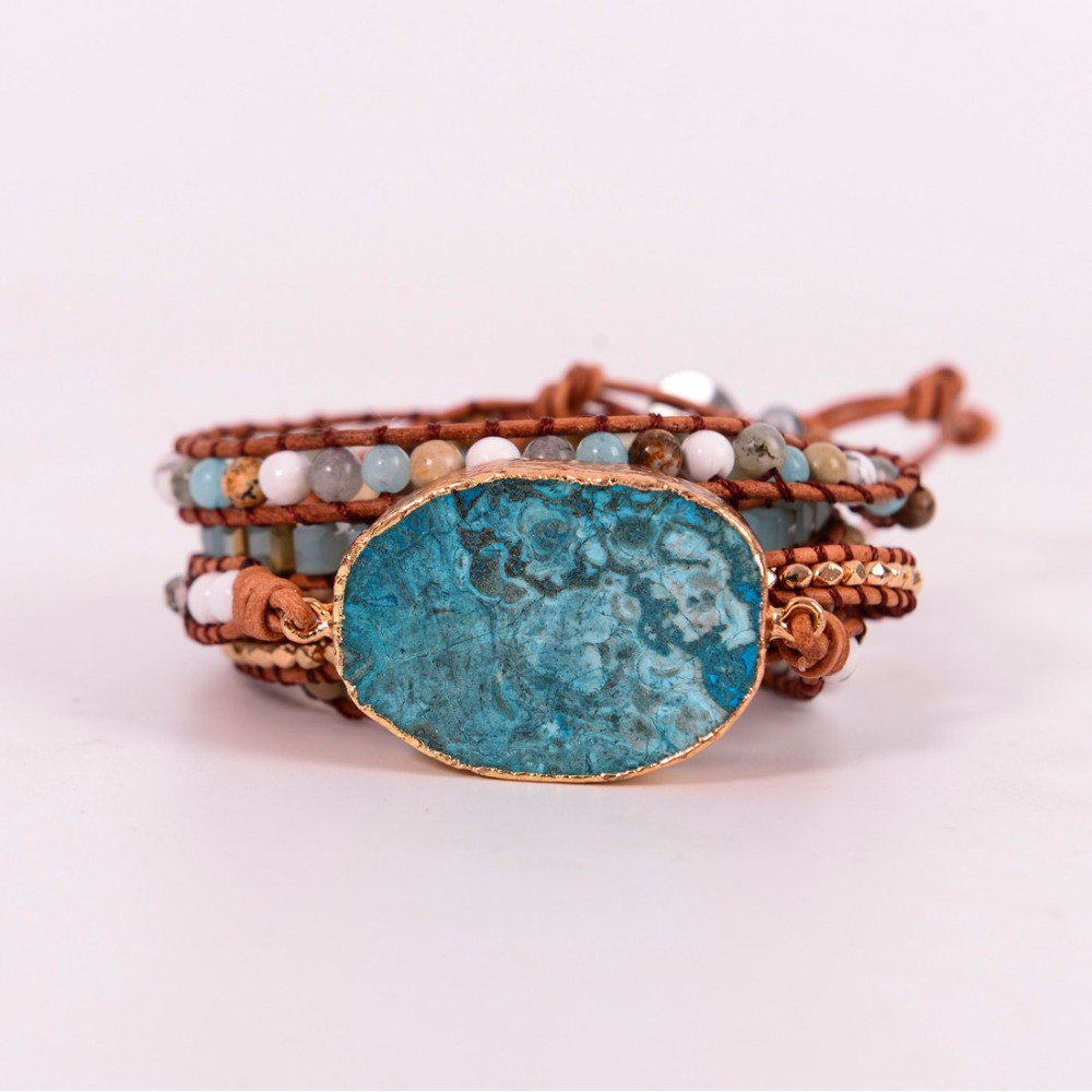 Latest 2018 - 5X Leather Wrap Beaded Bracelet Huge OceanStone Bracelet, Boho Chic Jewelry, Bohemian Bracelet Valentine's Gift