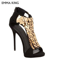 b9aa77e124cd EMMA KING NEW BLACK RED Summer SEXY Gold Sequin-Embellished High Heel  Gladiator Sandals Peep Toe Cut-out Cage Party Shoes Woman