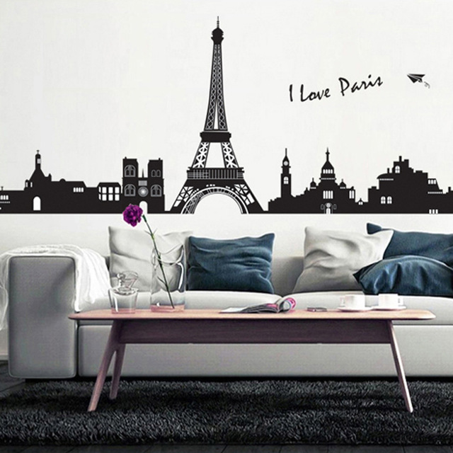 Large DIY Modern Black Paris Tower Building Birds Wall Stickers Wall ...