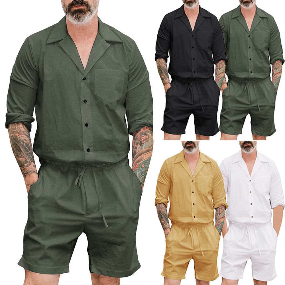 Mens Clothes Men Short  Sleeve V-Neck Button Casual Belt Solid 2018 Summer Cargo Pants Siamese Trousers