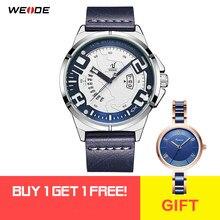 8ec71d66409 Pulseira De Couro WEIDE Movimento de Quartzo Dos Homens relógio de Pulso  Analógico Digital LCD Design