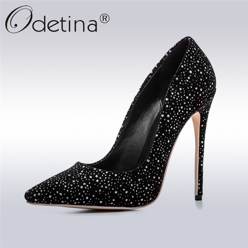 Odetina 2018 New Fashion Women Glitter Pumps Super High Heels 12 Cm Stilettos Pointed Toe Luxury Bling Women Shoes Big Size 43