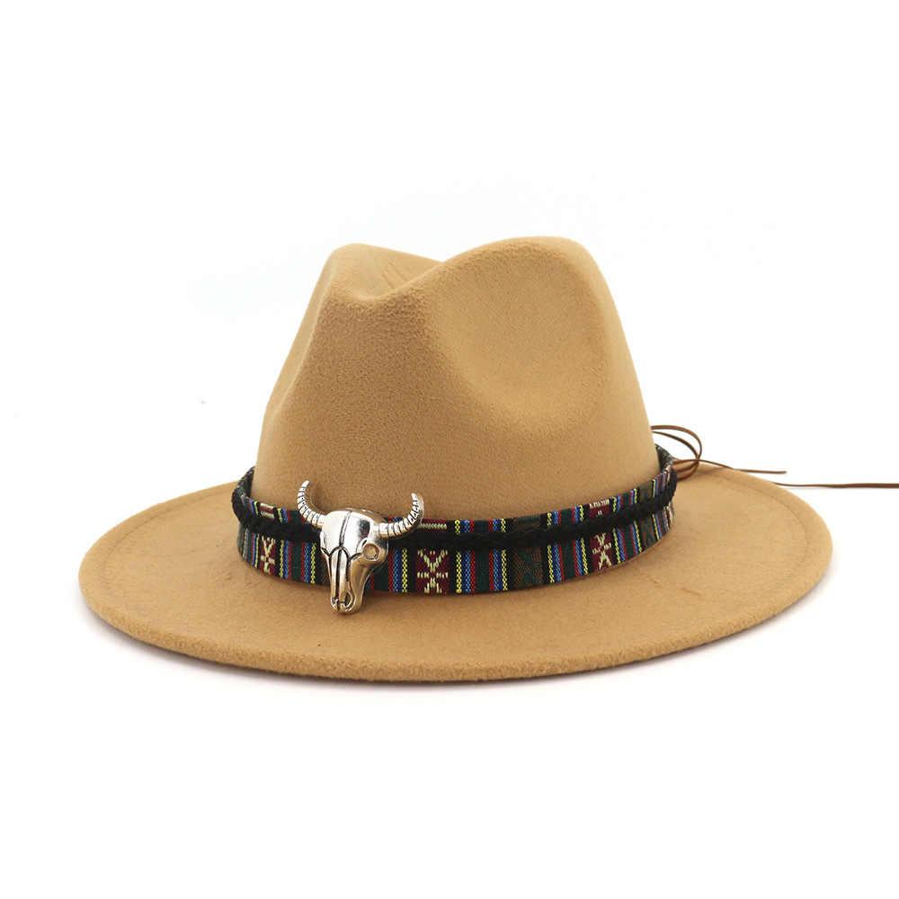 قبعة لبّاد صوف بنما جاز فيدوراس قبعات مع مؤشرة على شكل ورقة معدنية مسطحة حافة حفلة رسمية ومرحلة أفضل قبعة للنساء الرجال للجنسين