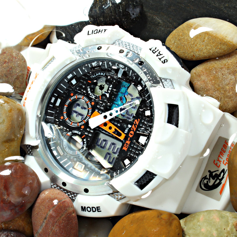 Prix pour EPOZZ haute qualité montres hommes synchroniser MOV 100 M résistant à l'eau 1 an de garantie blanc sport montre-bracelet E3001WHITE
