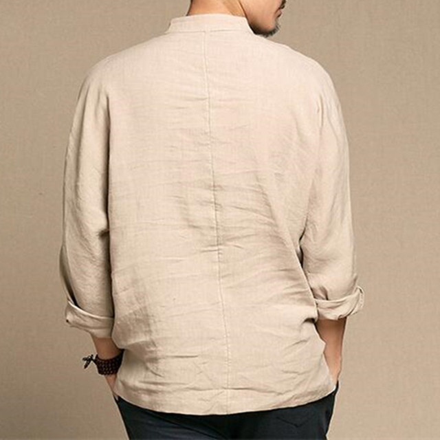 Brand Cotton Linen Men's Shirts Long Sleeve Male Casual Shirts Leisure shirt for man camisa masculina Streetwear 2018 Spring New 3