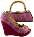 African Women Bags And Shoes For Wedding Heels Pink+Fuchsia Good Quality 2017 Latest Italian Shoes With Matching Bags 1308-L20