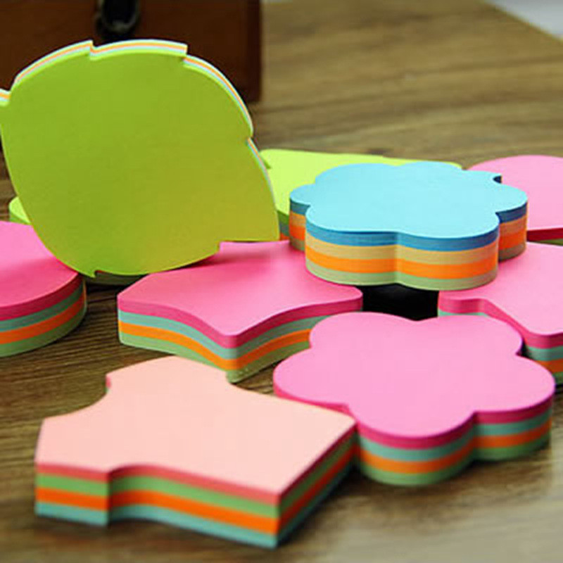 100 Pages Multicolor Sticky Notes Cute Love Memo Pads Sticker Post It Bookmark Marker Flags Planner Briefpapier recycle bin sticky memo pads 60sheets