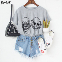 ROMWE Womens T Shirt Tops Korean Summer T Shirt Women Clothes Grey Skull Print Round Neck