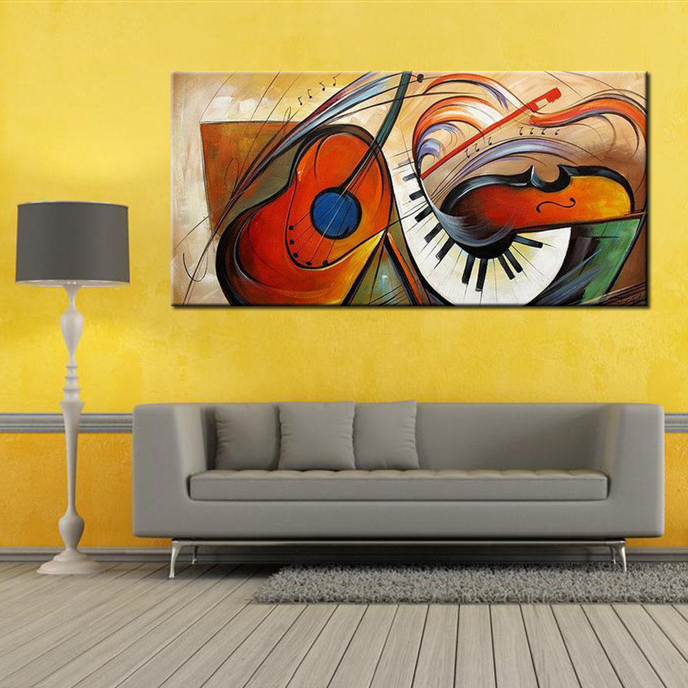 Modern Abstract Musical Instruments Oil Painting Canvas Art Hand ...