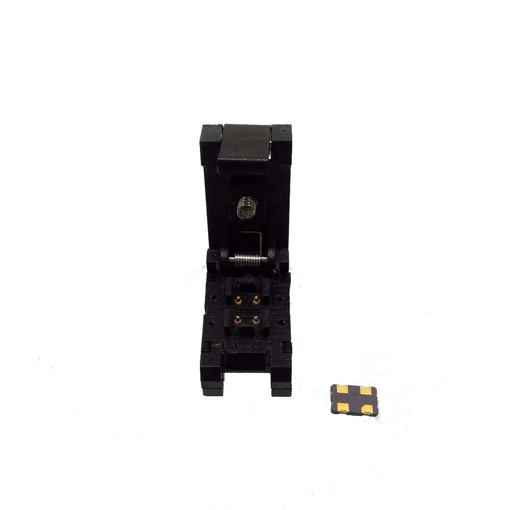QFN4 DFN4 WSON4 burn in Socket Pogo Pin IC Test Adapter QFN4-1.2-CPO1PNL Pitch 1.2mm Clamshell Size 3.2*2.5mm Burn in Socket ucos plcc32 test block test burn zy115a conversion adapter