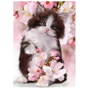 5D DIY diamond painting pink peach flowers cats 3d Cross Stitch Full Square Drill Embroidery rhinestones Home Decor C361