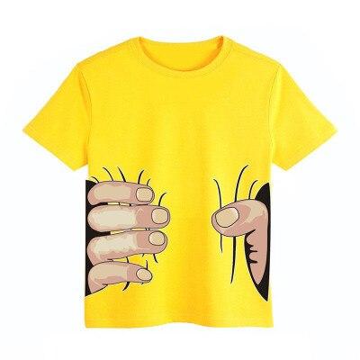 Los niños T camisa atrapar de algodón de dibujos animados de niño Tee superior dedos diseño niño niños niñas Camiseta de algodón de manga corta camisetas