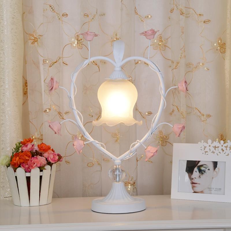 art lamps Bohemia rose grass table lamp heart-shaped wedding celebration bedroom bedside table light ZL358 black heart shaped rose pattern retro bracelet