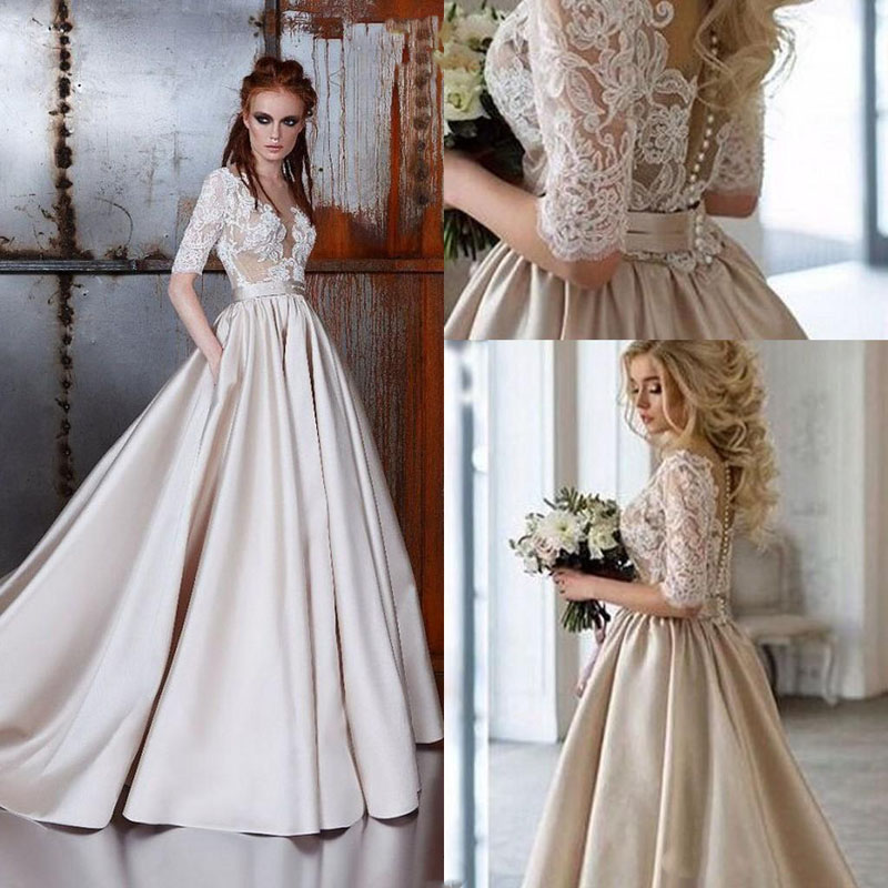Vintage Lace Champagne Dubai Arabic Wedding Dress 2019 Sheer Neck Half Sleeves Bridal Gowns Button Occasion Gown Party Dress