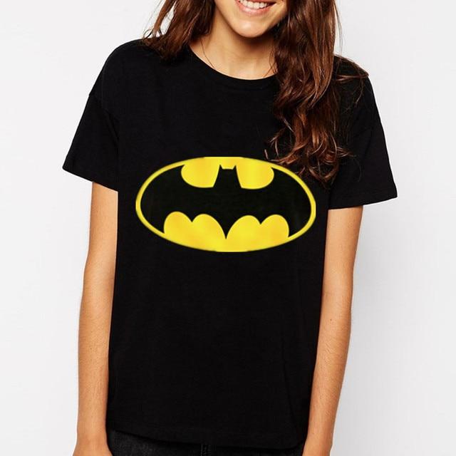 2015 New Fashion Brand Women T-shirts printed Batman short sleeve t shirts Stretch Cotton tees Modal tops