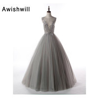 Nuovo Arrivo Sexy See Through Torna Borda di Applique di Tulle Grigio Vestiti Da Sera Lunghi di Lunghezza Del Pavimento Sexy Ball Gown Prom Dress