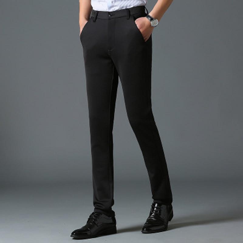 5e6af7eb00 Otoño Moda Hombres Simple Elásticos Negocios Negro 2018 Color Slim Mid Los  Traje Sólido Pantalones Casuales ...