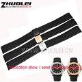 21 мм водонепроницаемый резиновый браслет ремешок мягкий браслет ремешок для часов наручные часы полосы ремень развертывания пряжка для 5164a5167a