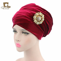 Cheap 2 pcs New women luxury hijab velvet Turban Head Wrap Extra Long velour tube Headwrap Scarf Tie with jewelry brooch