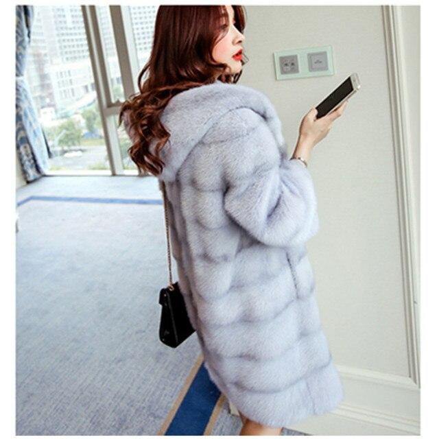 Высокое качество Норки кашемира шуба для женщин, большой длинный толстый искусственный мех пальто искусственный мода норки шерсти с капюшоном шуба