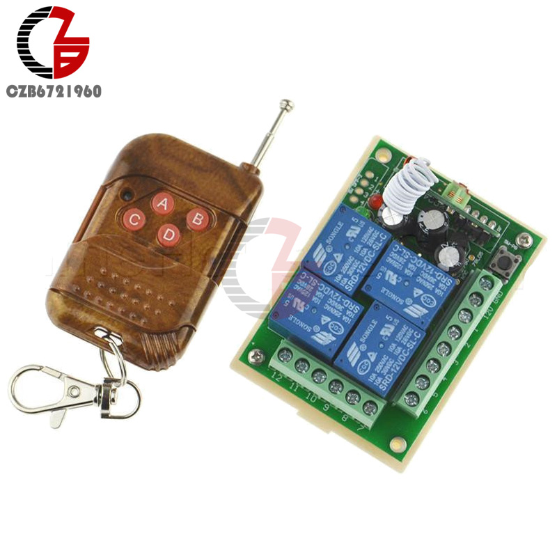 DC 12V 10A 4 Channel Relay Wireless RF Remote Control Switch 433MHz Transmitter Receiver For