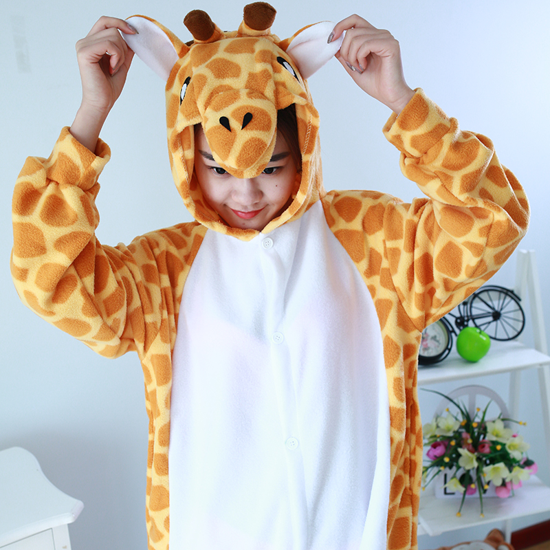 aeb11bbcc28d JINUO Polar fleece Giraffe Girls Footed Onesies Animal Footie Pajamas  Cosplay Christmas Halloween Costumes For Ault on Aliexpress.com