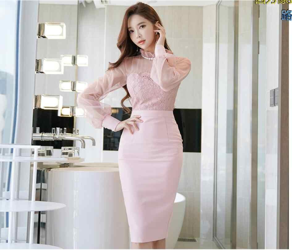 Vestidos shiping חינם חדש קוריאני צווארון עומד ארוך שרוול טהור צבע Slim סקסי חבילת ישבן תחרה נשים שמלת bodycon שמלה