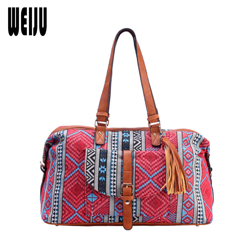 WEIJU 2017 New Ethnic Canvas Men Women Duffle Bag Casual Printing Travel Bag Malas De Viagem Traveling Handbag Shoulder Bags