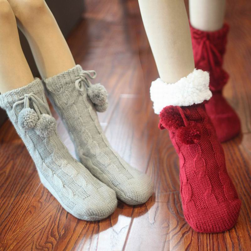 High quality Winter Christmas   socks   adult floor   socks   thickening women's slip-resistant thermal cartoon gift knitted wool   socks