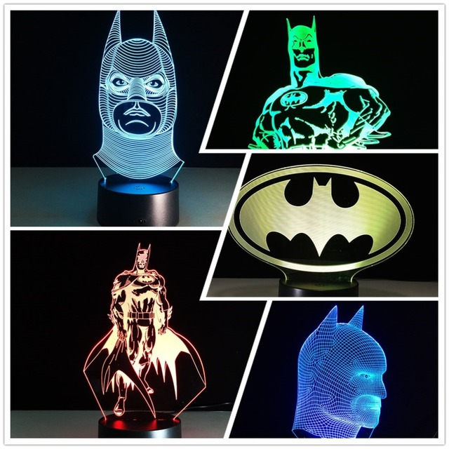 Different Lighting Styles To 3d Novelty Lighting Different Styles Batman Table Lamp Rgb Lights Remote Touch Usb Charging