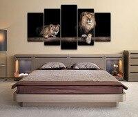 Wall Art Canvas Painting Lion Styl Drukowane Obrazy Ścienne Oprawione 5 Panel Plakat Zwierząt Lwy Fot Do Salonu Nowoczesne wystrój