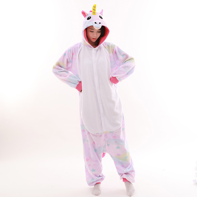 Erwachsene Unisex Fleece Tier Einhorn Onesies Neuheit Pyjamas