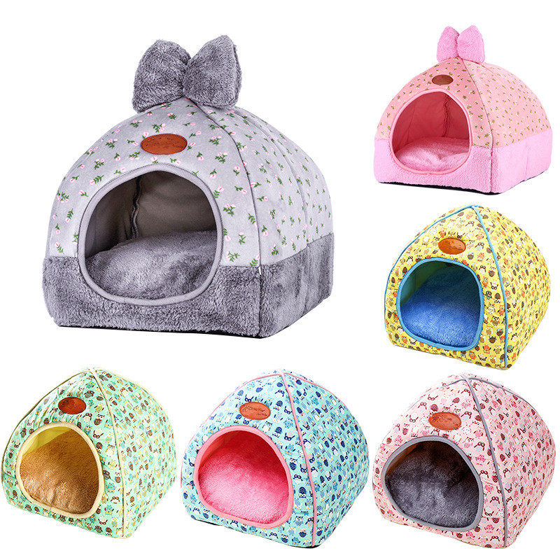Foldable Dog Beds For Small Medium Large Dogs Sofa Dog House Kennel With Mat Pet Cat Bed Pet Puppy Nest Pet Shop House Warm