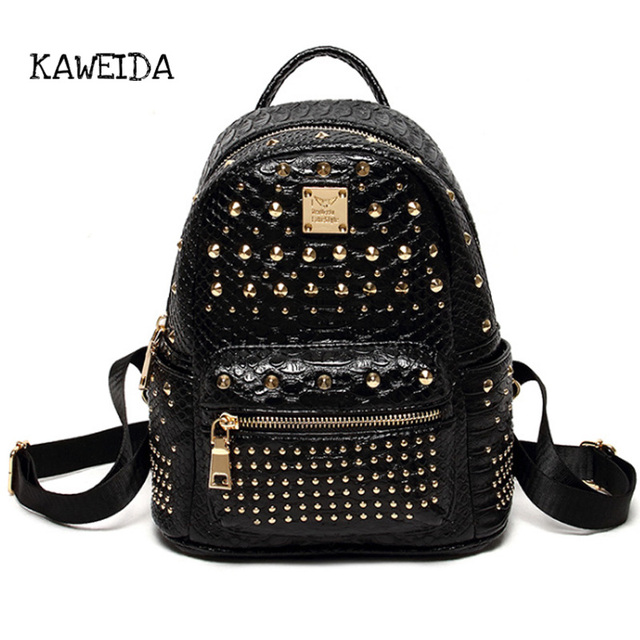 301d8be48b Mini Leather Retro Backpack Women Punk Rivet Studded Alligator Backpacks  for Girls Ladies Travel Bag Cute Satchel School bagpack